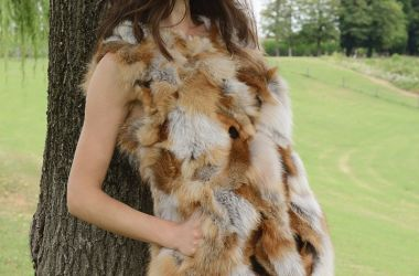 production of accesories and fur gilet red fox